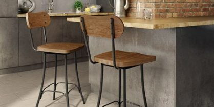 Bean Swivel Stool with wood